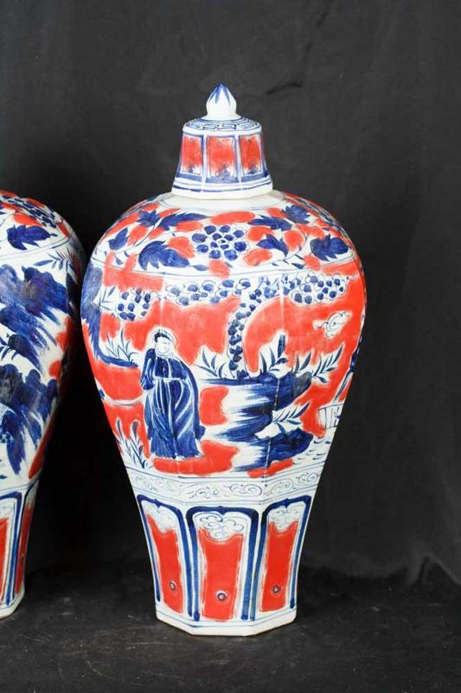 Pair Japanese Imari Porcelain Ginger Jars Vases Urns Arita