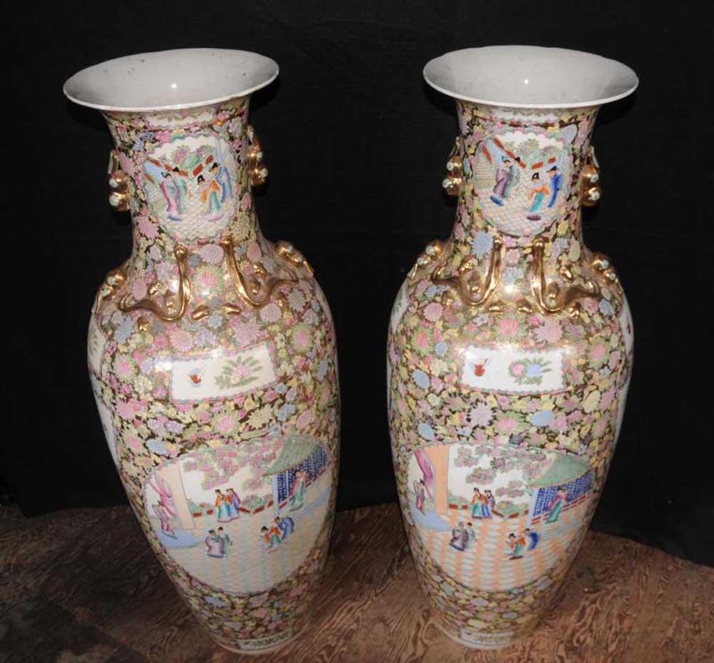 pair japanese rose satsuma porcelain urns pottery amphora urn architectural. Black Bedroom Furniture Sets. Home Design Ideas
