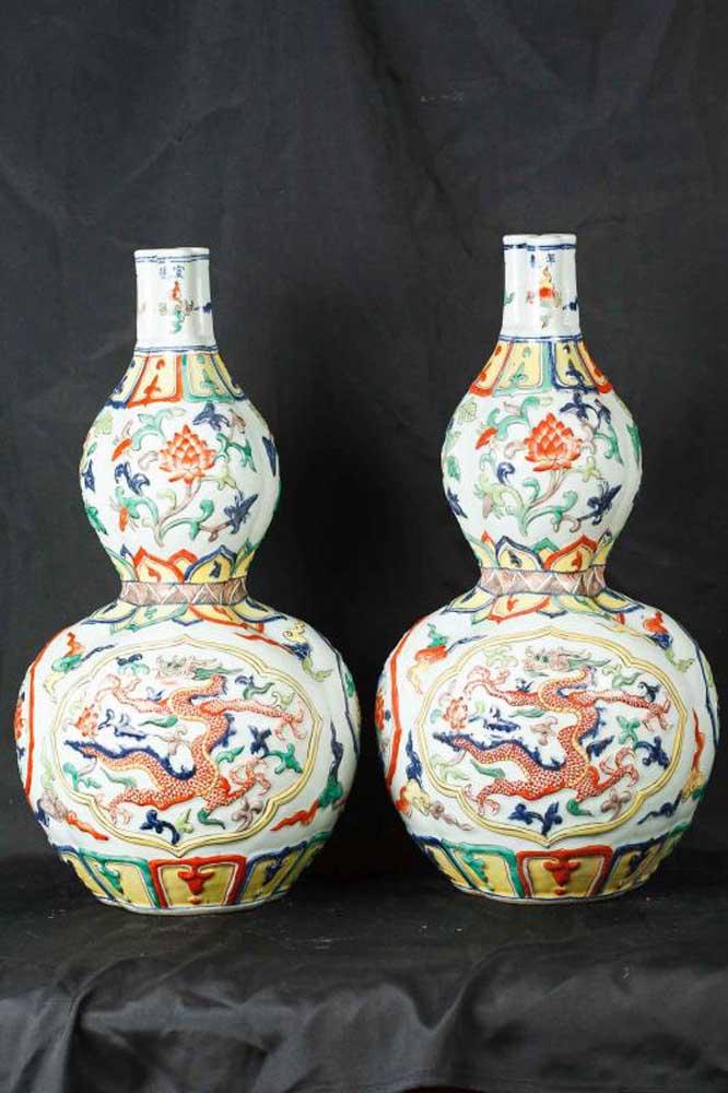 Pair Japanese Satsuma Porcelain Rose Vases Urns Vase