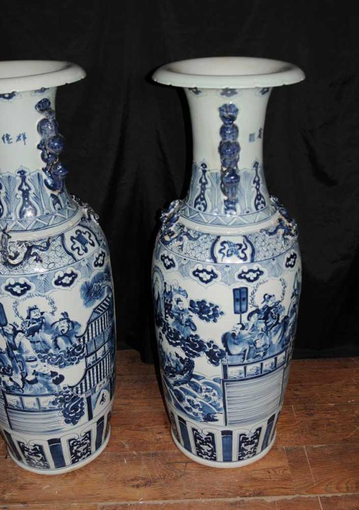 Pair Large Chinese Nanking Porcelain Urns Vases Pottery China