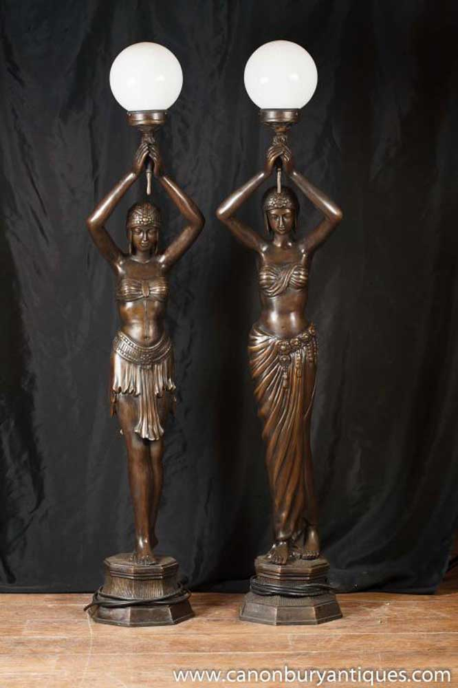 Pair Large French Bronze Figurine Lamps Lights Statue