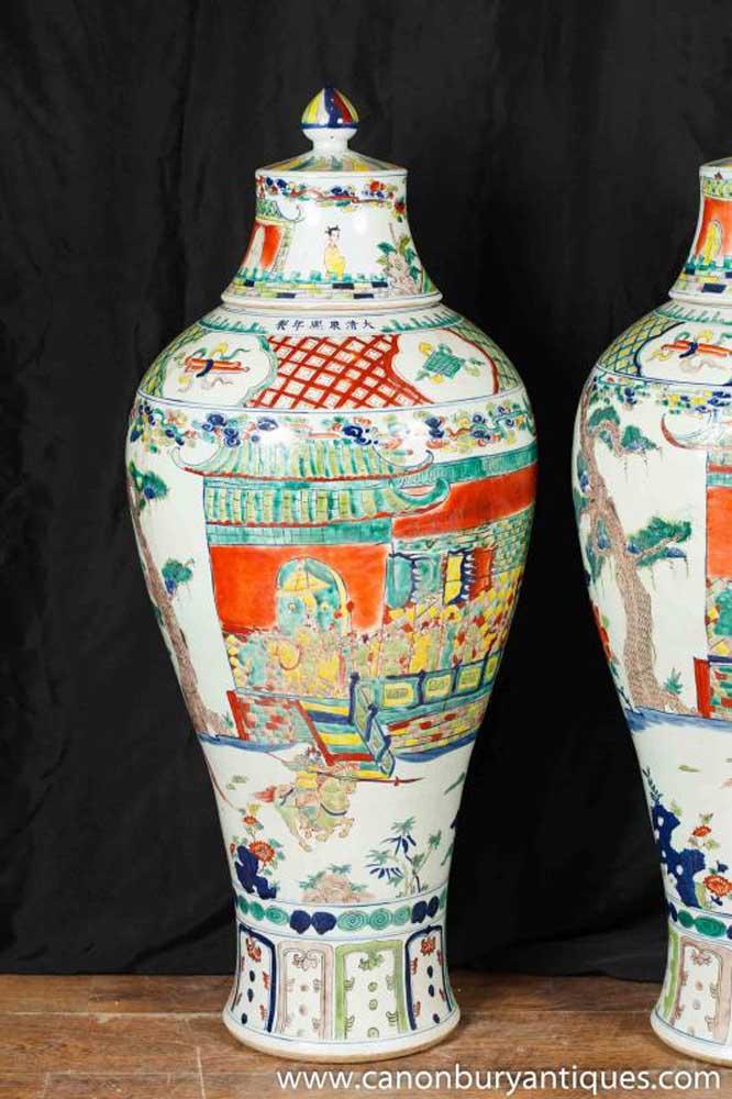 Pair Large Japanese Porcelain Kakiemon Vases Urns Ceramic Pottery