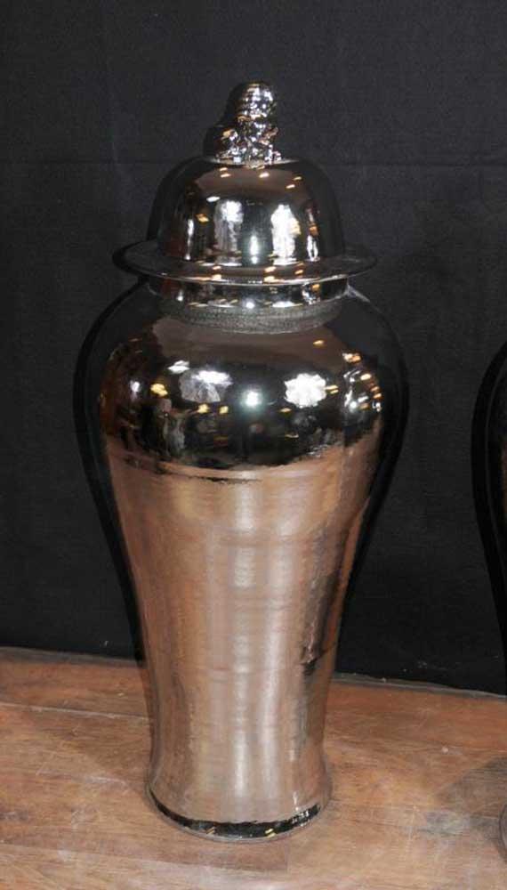 Pair Large Silver Chinese Porcelain Ginger Jars Vases