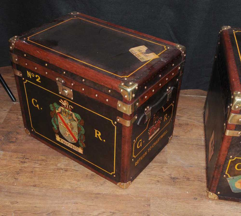 Pair Leather Coffee Tables Luggage Trunks Boxes Cases English