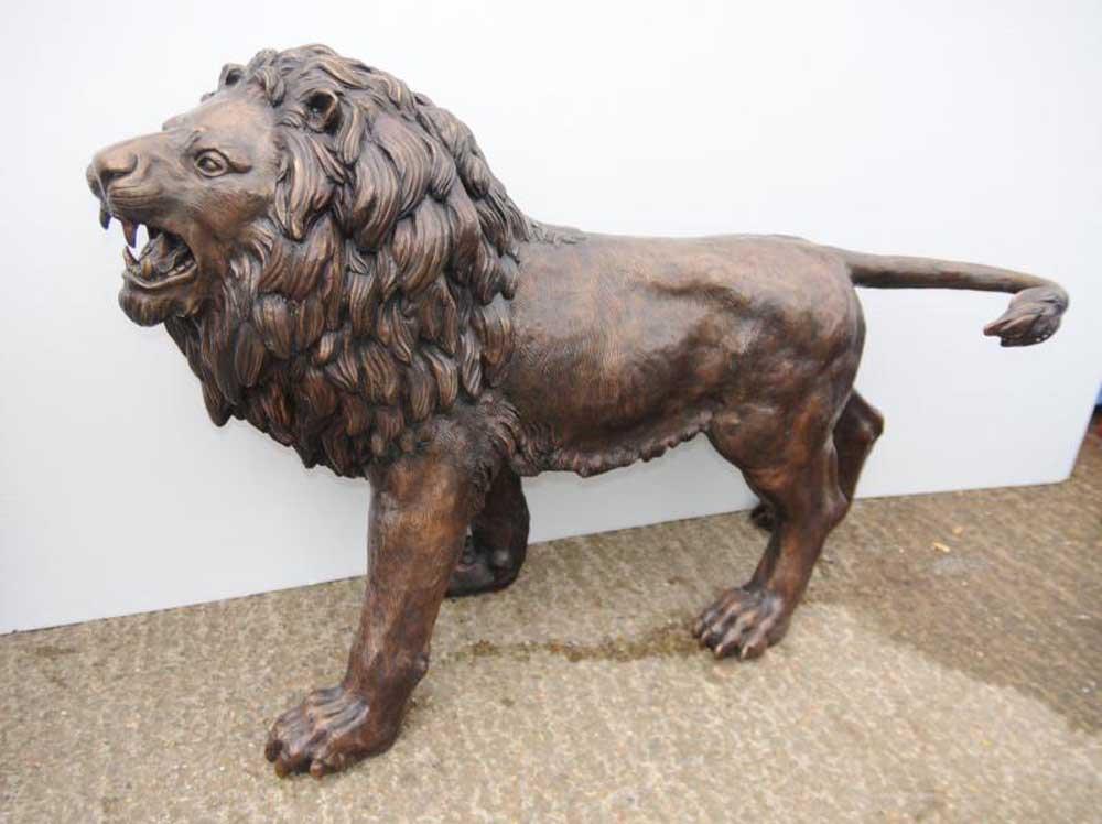 Pair Lifesize Bronze Lions Lion Statue Cat Gatekeeper