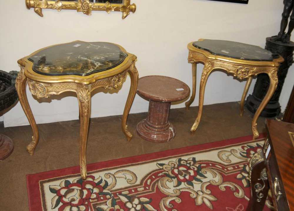Pair Louis Xv Gilt Side Tables Occasional Cocktail Sofa Table