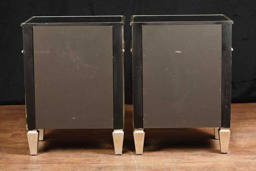 Pair mirror bedside cabinets tables chests nightstands for Mirror bedside cabinets