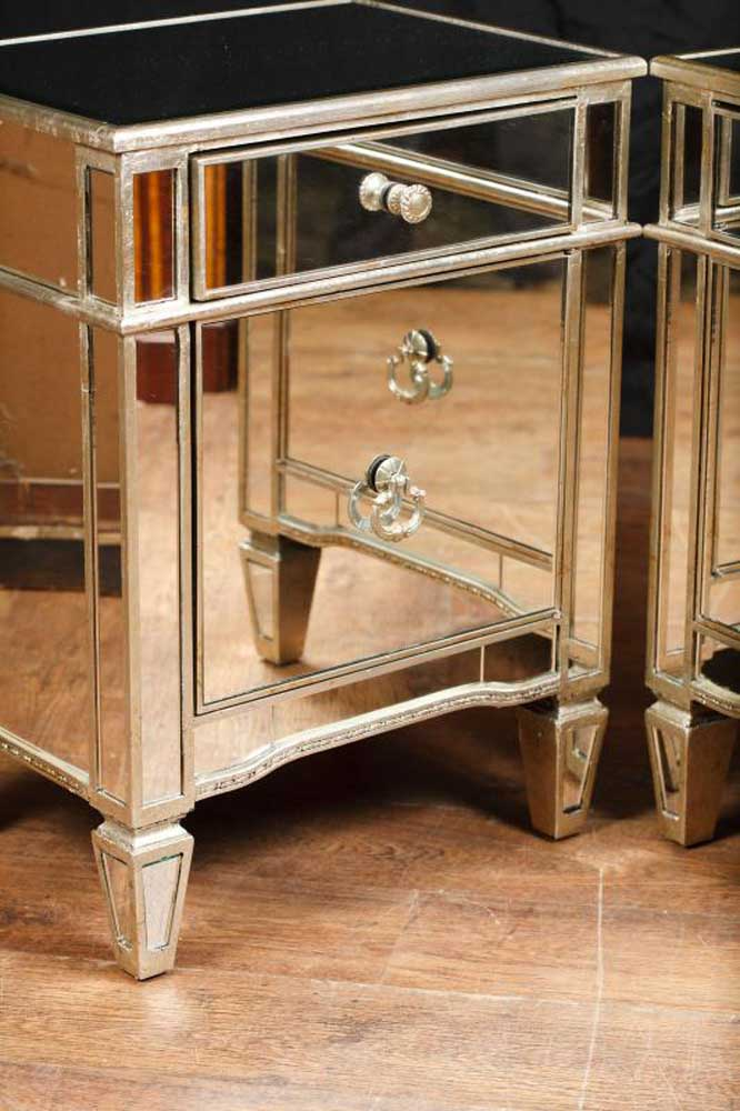 Mirror And Painted Bedside Table: Pair Mirror Bedside Cabinets Tables Chests Nightstands