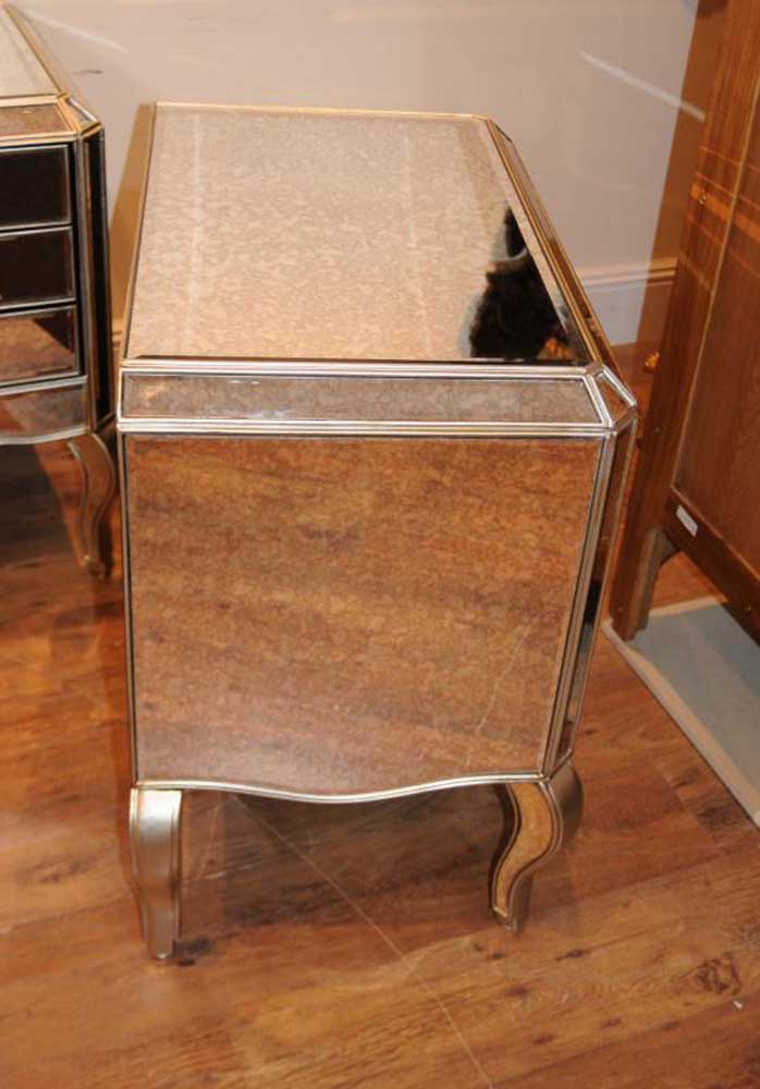 Mirror And Painted Bedside Table: Pair Mirror Deco Nightstands Bedside Tables Chests
