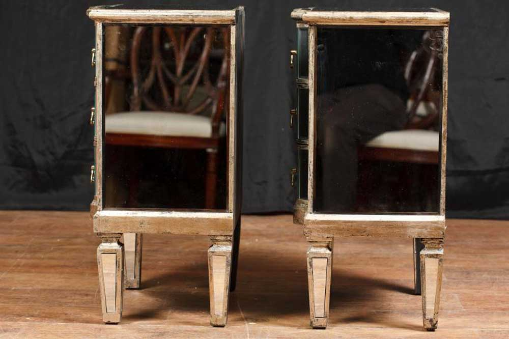 Pair Mirror Nightstands Deco Mirrored Bedside Chests Furniture Ebay