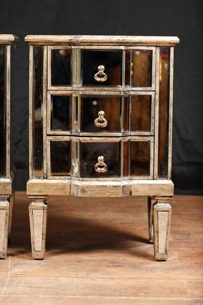 Pair Mirror Nightstands Deco Mirrored Bedside Chests Furniture