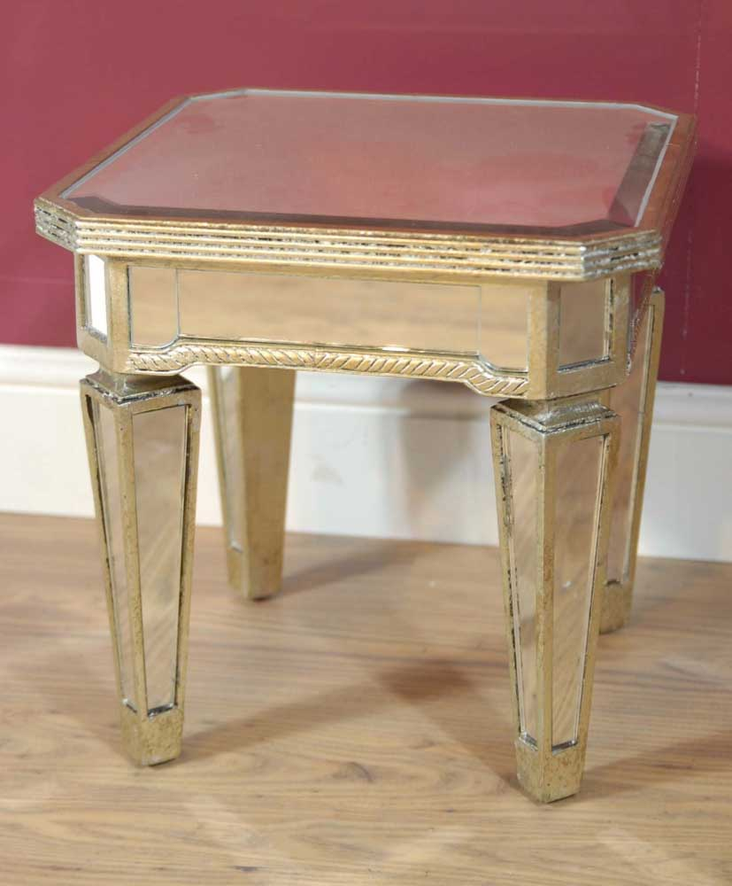 Pair mirrored coffee side tables table mirror furniture ebay for Mirrored coffee table and end tables