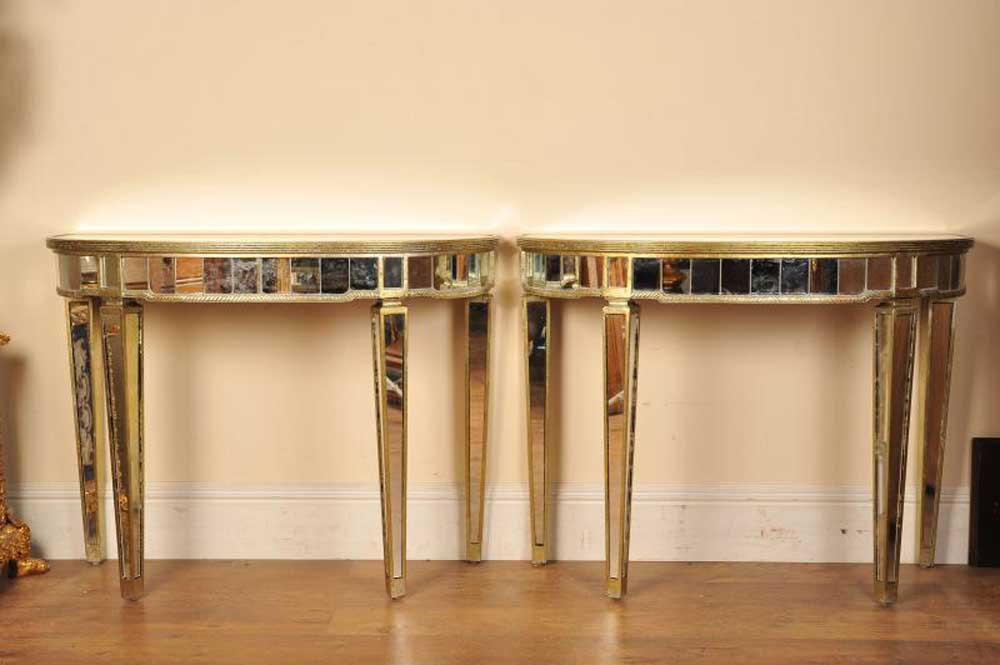 pair mirrored console tables art deco half moon. Black Bedroom Furniture Sets. Home Design Ideas