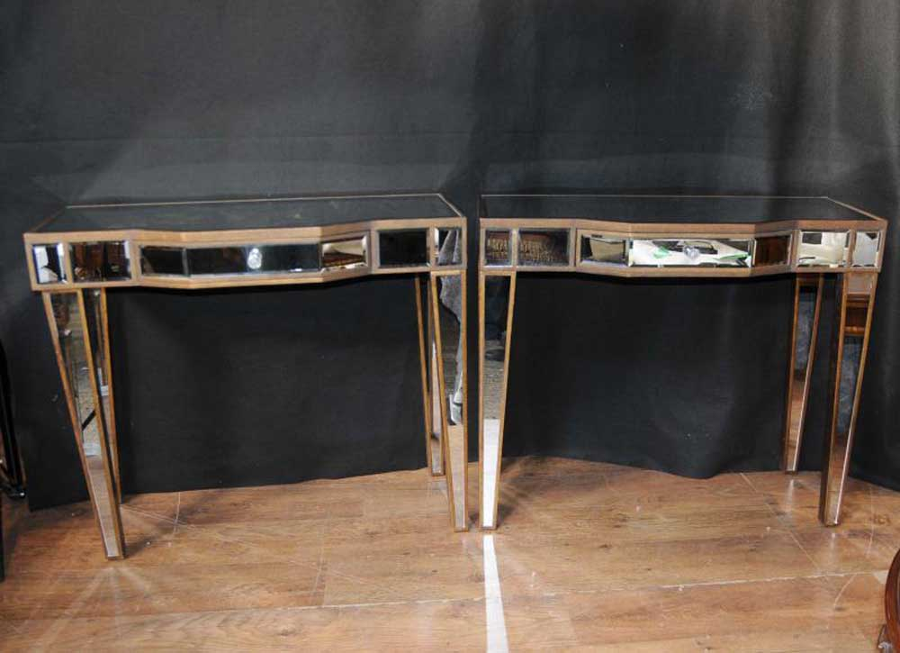 Pair Mirrored Deco Console Tables Hall Tables Mirror Furniture Borghese