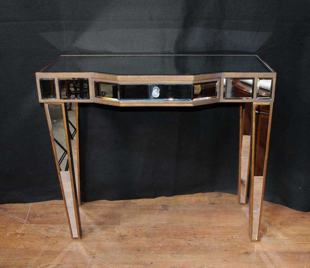 pair mirrored deco console tables hall tables mirror
