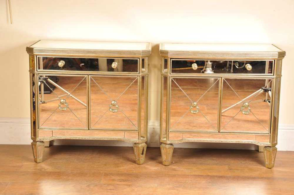 Details About Pair Mirrored Night Stands Bedside Cabinets Deco