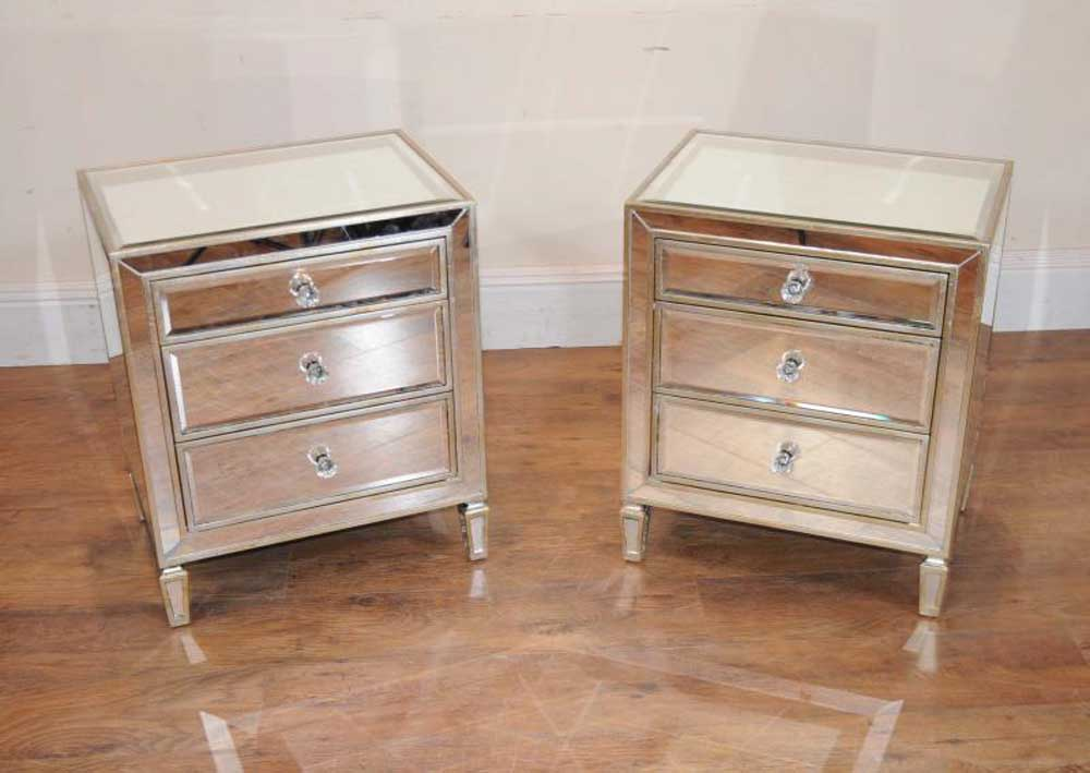 Pair mirrored nightstands bedside chests tables for Nightstands and bedside tables