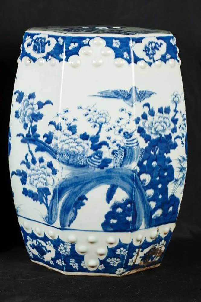 Pair Nanking Blue White Porcelain Stools Seats Chinese Pottery