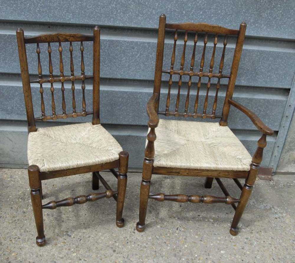 Pair Oak Spindleback Kitchen Chairs Country Farmhouse