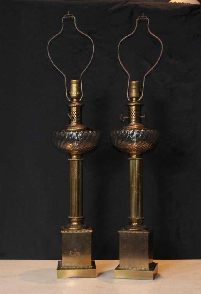Pair Regency Brass Table Lamps Lights Column Cut Glass