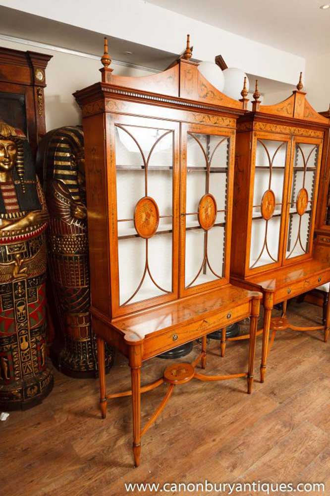Pair Sheraton Style Satinwood Display Cabinets Bookcases