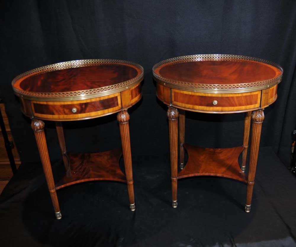 Pair Regency Side Tables Mahogany Occassional Cocktail Table