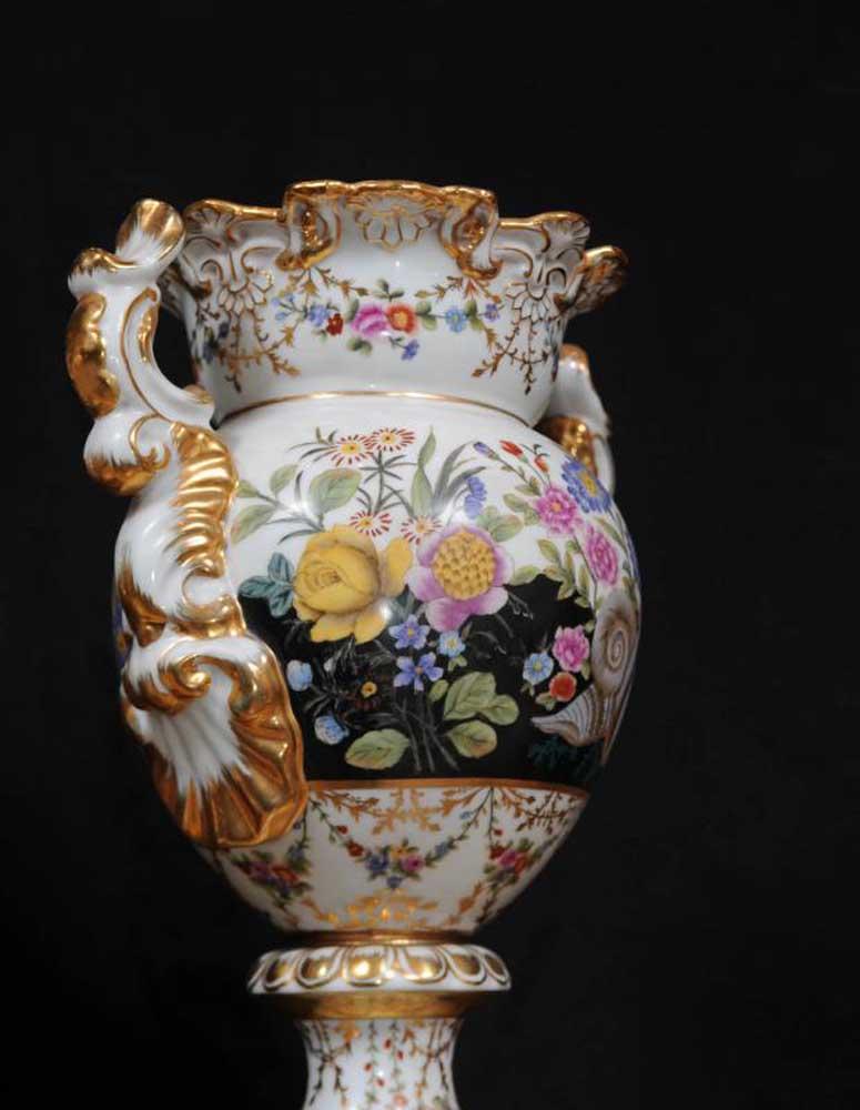 Pair Sevres Porcelain Vases Pedestal Base Urns French Ceramic