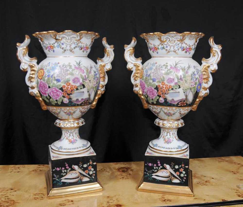 Pair sevres porcelain vases pedestal base urns french ceramic - Ceramic pedestal table base ...