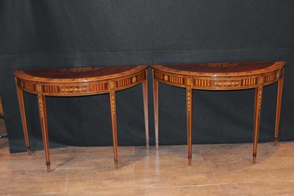 Pair sheraton regency inlay console tables demi lune table for Table demi lune extensible