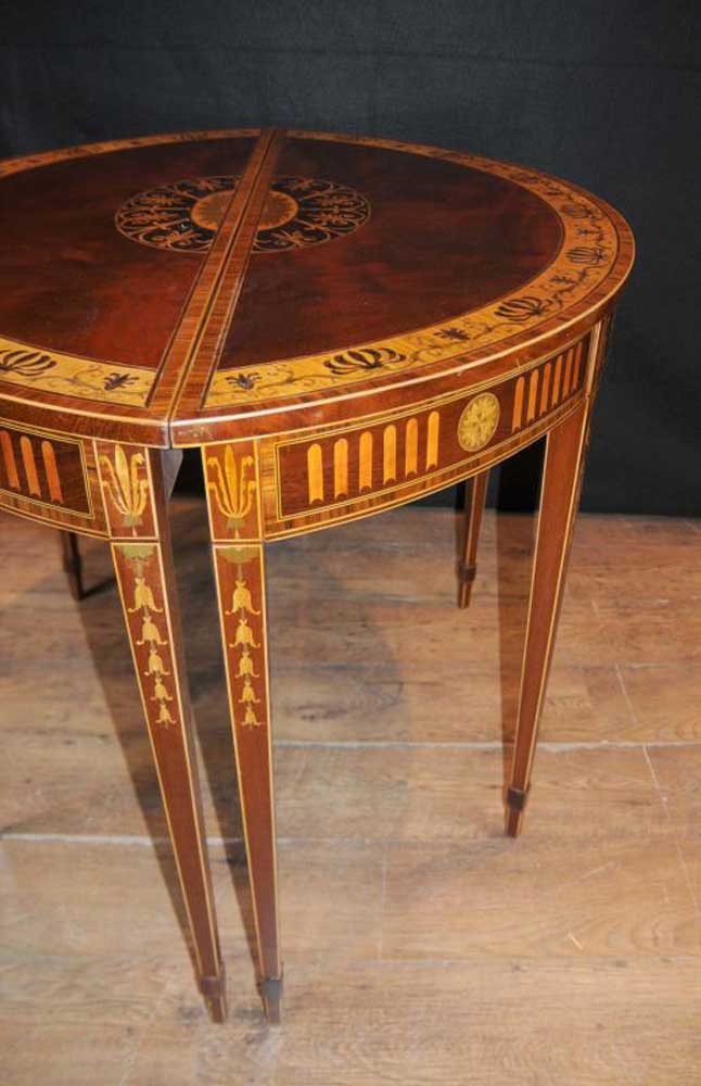 Pair sheraton regency inlay console tables demi lune table for Table cuisine demi lune