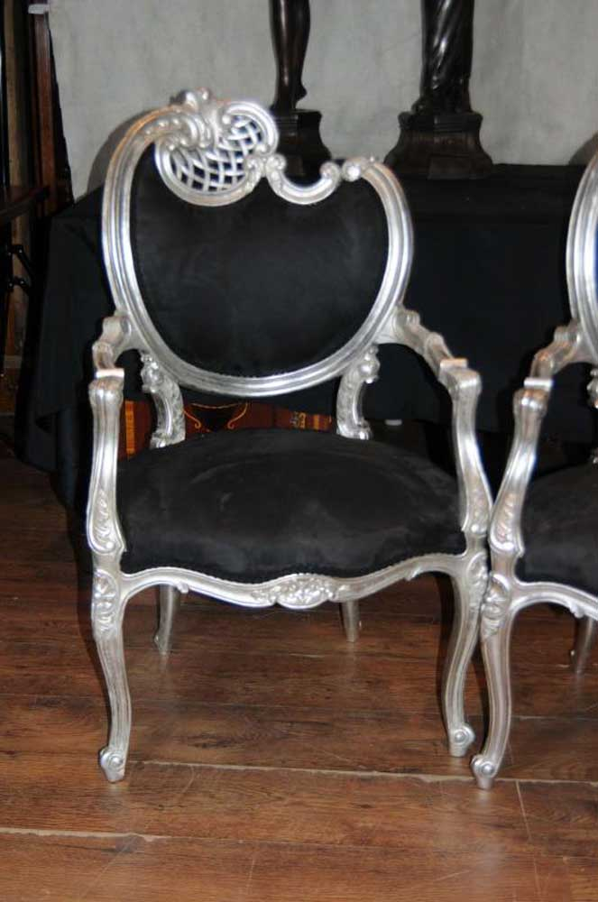 Pair Silver Rococo French Arm Chairs Fauteils Armchairs