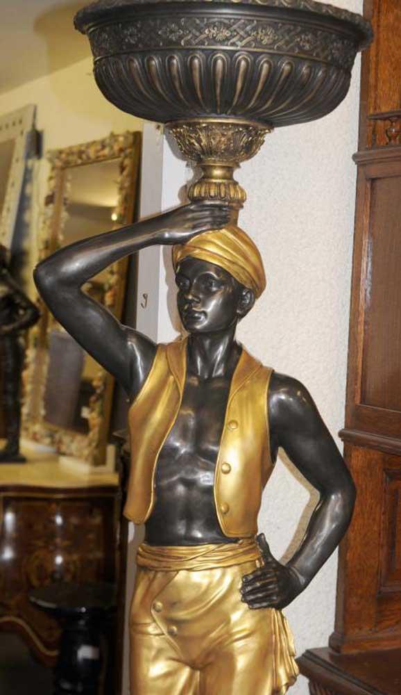 Pair Bronze Italian Blackamoor Statues Torcheres Signed