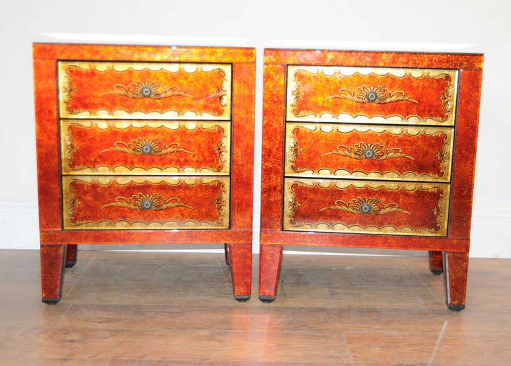 Pair Venetian Glass Deco Nightstands Bedside Tables Chests