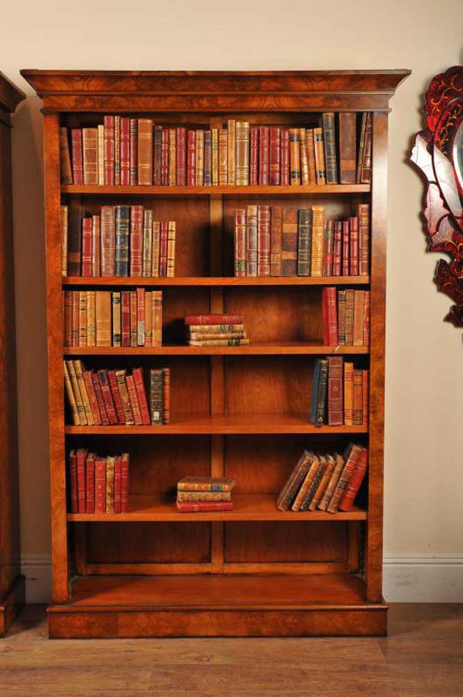 Library Bookshelves: Pair Walnut Victorian Bookcases Open Book Case