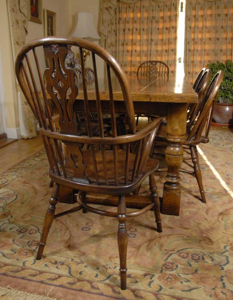 Pair Windsor Chairs Farmhouse Oak Kitchen Chair