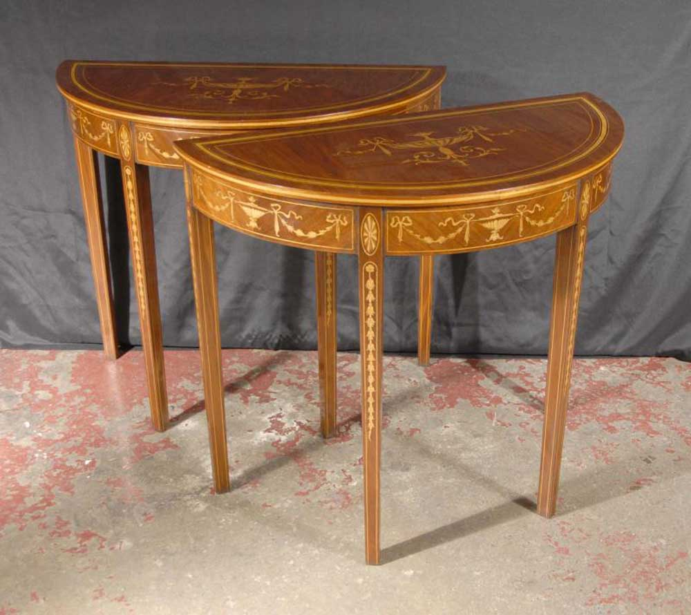 Pr english regency sheraton inlay console tables - Console table a manger ...