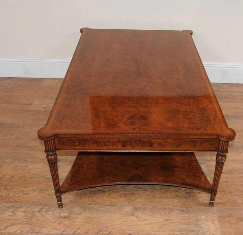 Regency burr walnut coffee table for Walnut coffee table