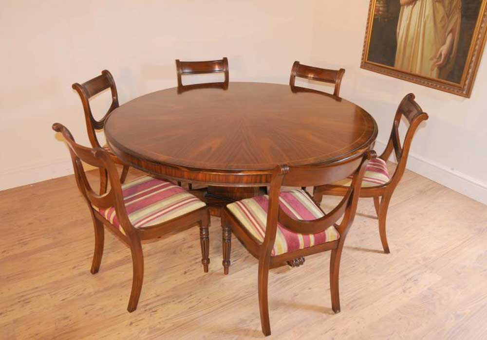 Circular Dining Table And Chairs: Regency Dining Set Round Table & Mahogany Swag Chairs