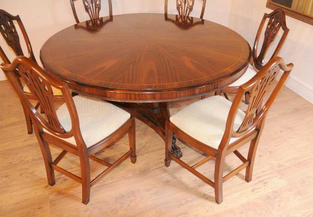 Regency Dining Set Round Table Amp Mahogany Swag Chairs