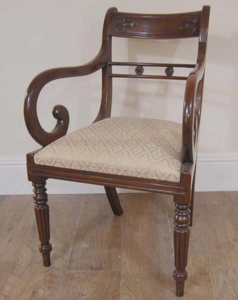 Regency Dining Set Table Chairs Mahogany Suite