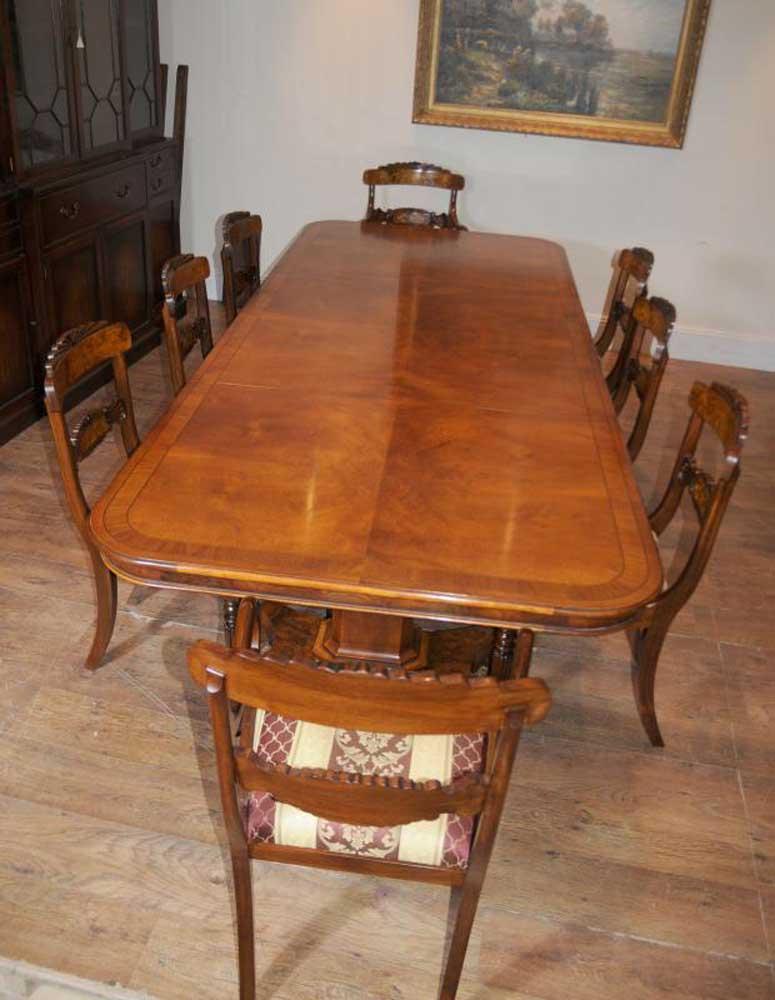 Regency Dining Table Walnut Set Inlay William Iv Chairs