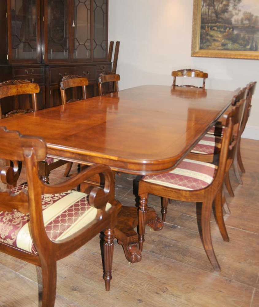 Regency Dining Table Walnut Set Inlay William Iv Chairs