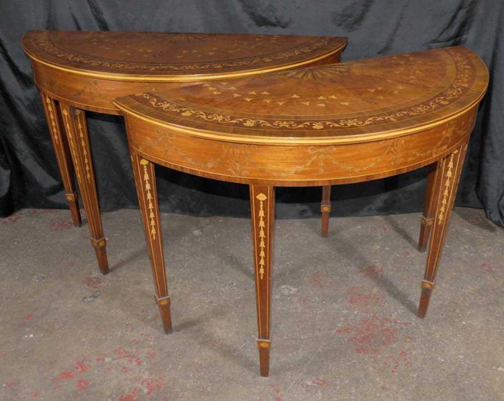 regency hepplewhite console tables inlay demi lune. Black Bedroom Furniture Sets. Home Design Ideas