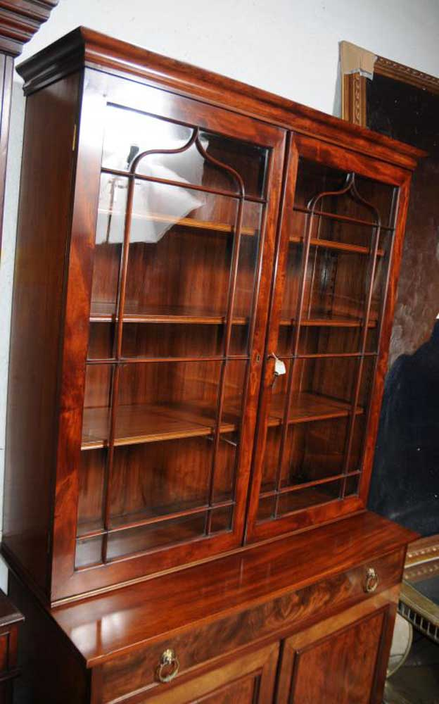 Regency Mahogany Bookcase Glass Fronted Display Cabinet