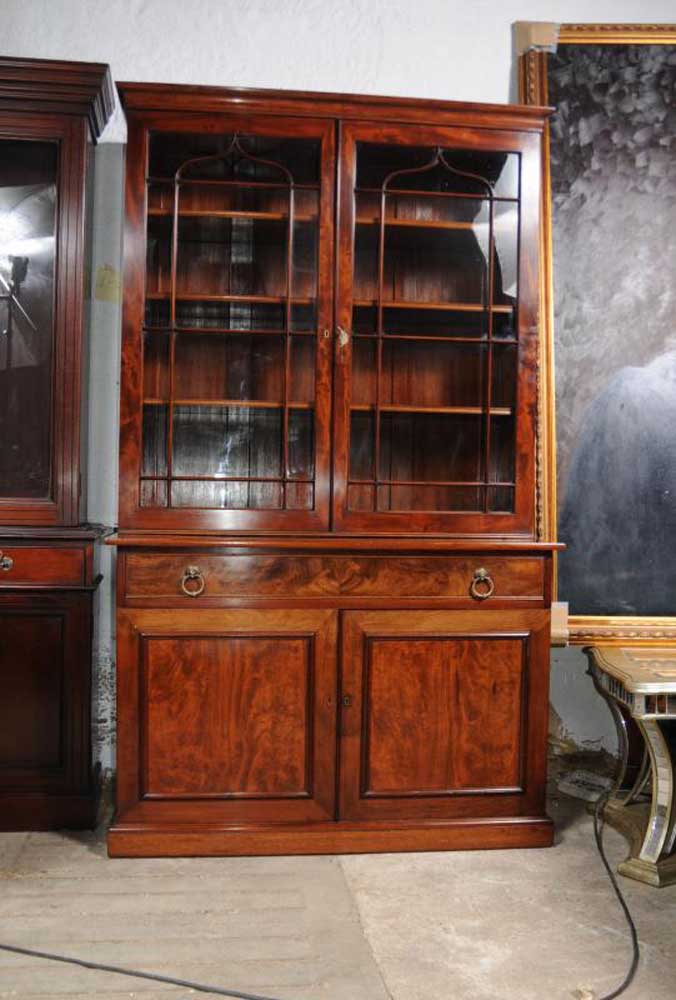 Regency Mahogany Bookcase Glass Fronted Display Cabinet Bookcases