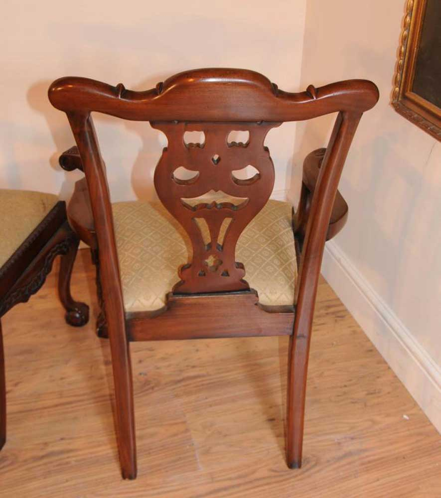 regency pedestal table set chippendale dining chairs suite