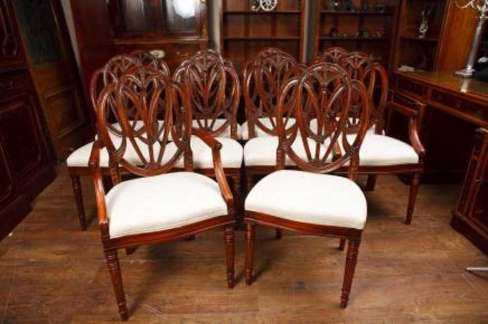Regency Pedestal Table And Set Hepplewhite Dining Chairs Suite