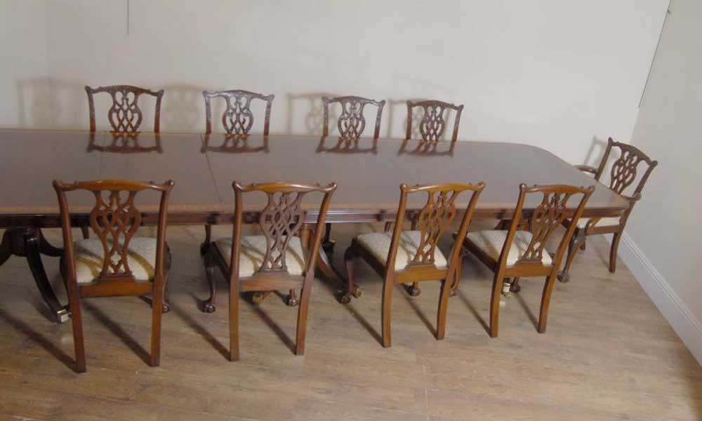 Regency triple pedestal dining table seats 14 luxury ebay for 14 seater dining table