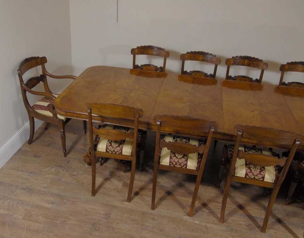 Regency Walnut Dining Table Amp 10 William Iv Chairs Set