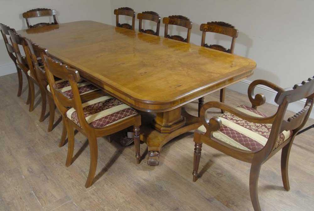 Regency Walnut Dining Table 10 William IV Chairs Set
